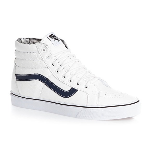 Vans Sk8-hi white leather shoes w/navy stripe